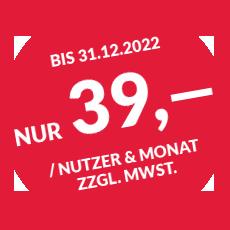 Bis 31.12.2022 nur 39,- € / Nutzer & Monat zzgl. MwSt.